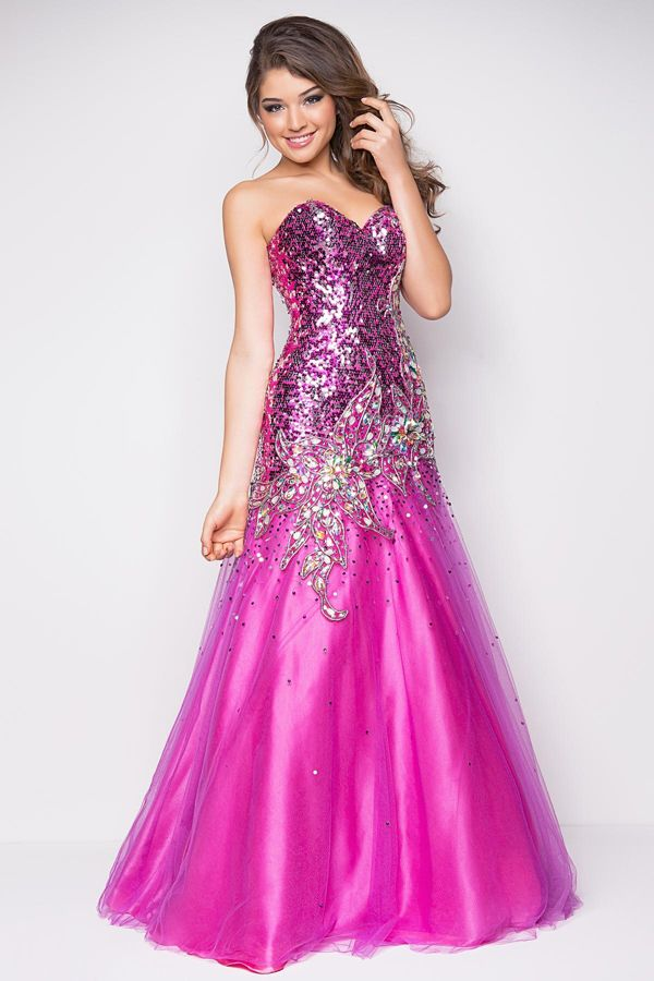Hot Pink Sequined Sparkling Prom Dress 2014