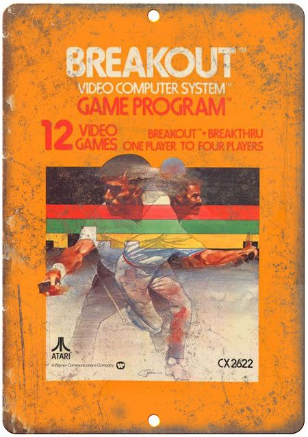 """Atari Breakout Video Game - 10"""" x 7"""" Reproduction Metal Sign"""