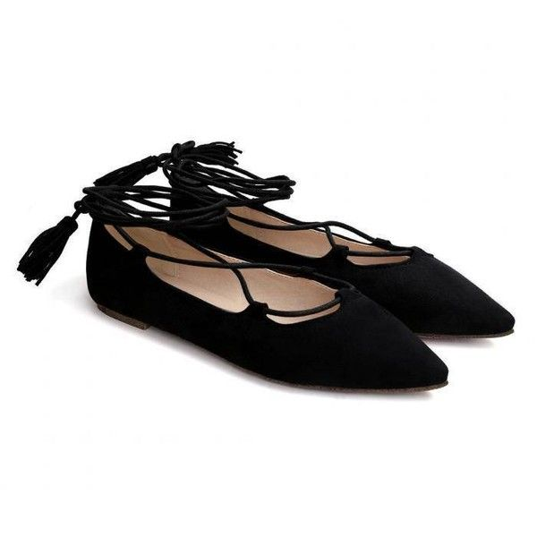 Yoins Black Suede Lace-up Flats ($31) ❤ liked on Polyvore featuring shoes, flats, black, black suede shoes, lace up pointed toe flats, pointed-toe flats, lace up flat shoes and suede flats