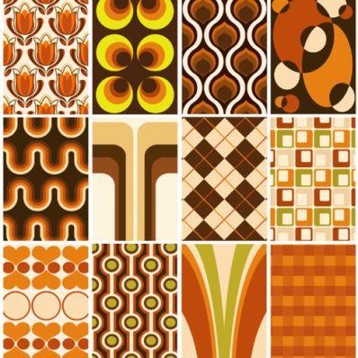 retro 70s living room wallpaper pattern samples orange