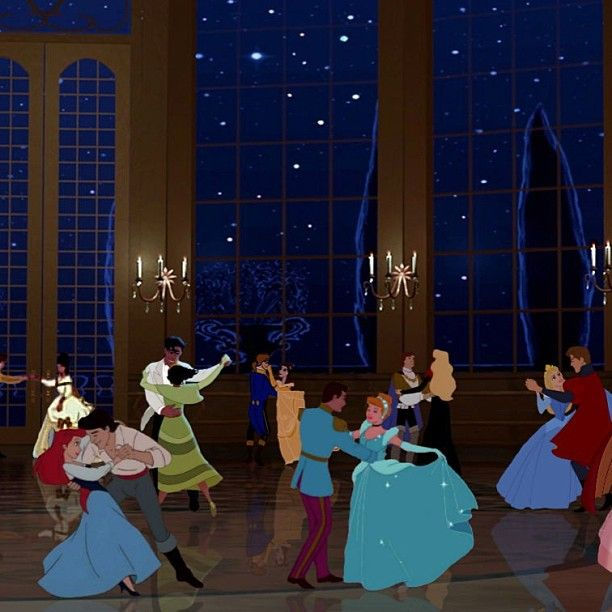 With all the Disney prince and princess couples! How cute!
