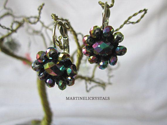 Rainbow Earrings Dark Jewel Tone Bohemian by MARTINELICRYSTALS
