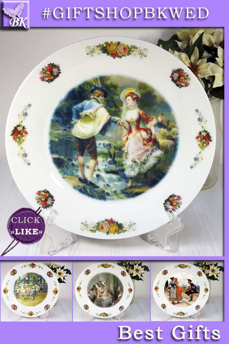 """Cesare Auguste Detti """"GALLANT"""". A series of plates """"Pastorale"""" is ideal for a gift. They looks great as a display on the dresser or on the wall can be. #giftshopbkwed #decor #home #accessory #gift #porcelain #picture #print #accessories #walldecor #plates #homedecor #shabbychic #frenchstyle"""