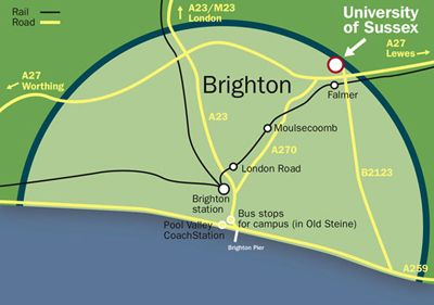 Map of Brighton, showing the University of Sussex