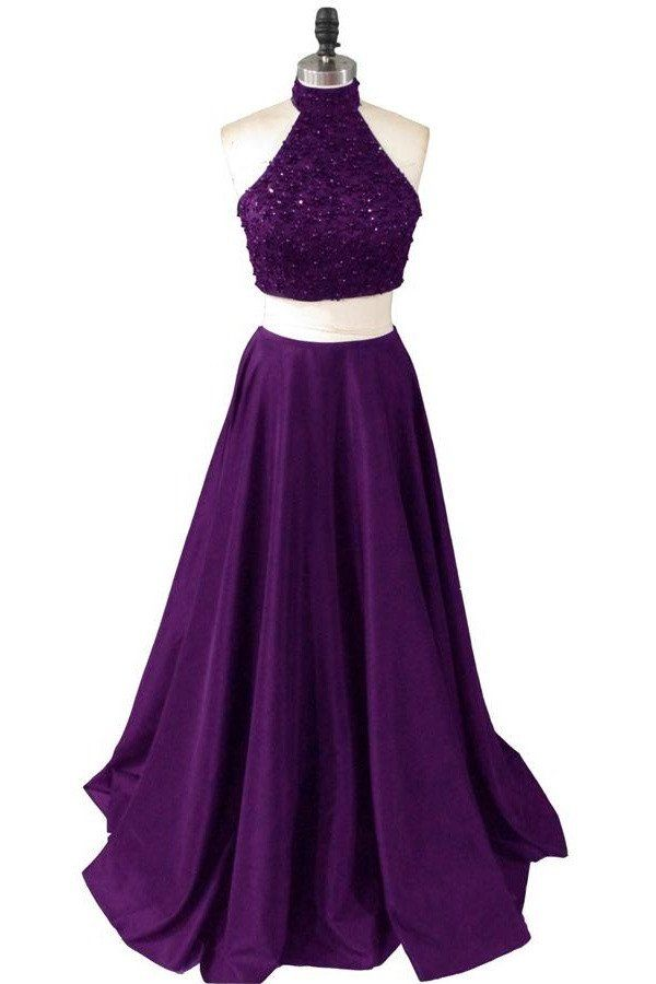 Dark Purple Two Piece Halter Satin Prom Dresses,