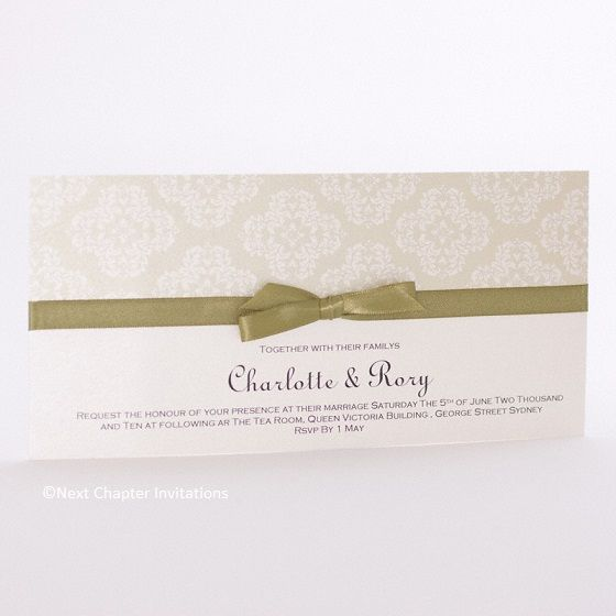 SAGE ADVICE A beautifully subtle sage brocade with a pearl background. The invitation is printed on matching card and completed with an elegant olive satin bow. Includes matching envelope. Price: $3.95 https://www.facebook.com/NextChapterWeddingInvitations