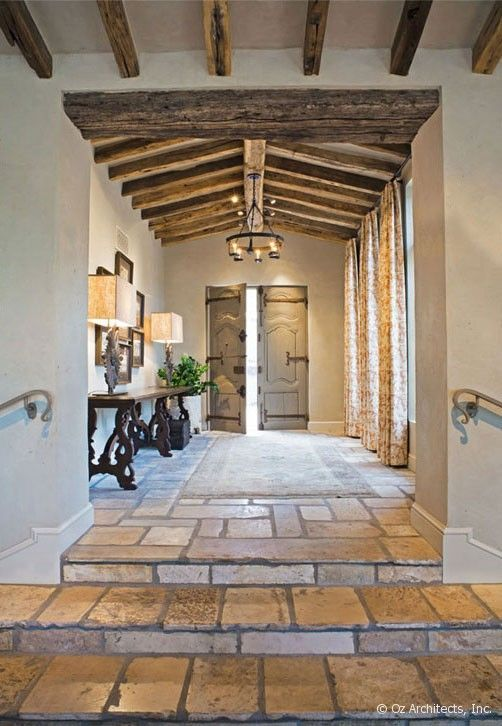 Silverleaf private residence-hillside custom home-Scottsdale Arizona-architect Oz Architects, Inc.-Don Ziebell architect -Silverleaf clubhouse-Gene Kniaz-rural Mediterranean-antique reclaimed building materials imported from Europe-family compound-outdoor living loggia-sustainable-certified Green Building City of Scottsdale Green Building program-built to last-petanque court-island pool-plunge pool-antique reclaimed roof tile beams-antique limestone fireplace-antique reclaimed doors from…