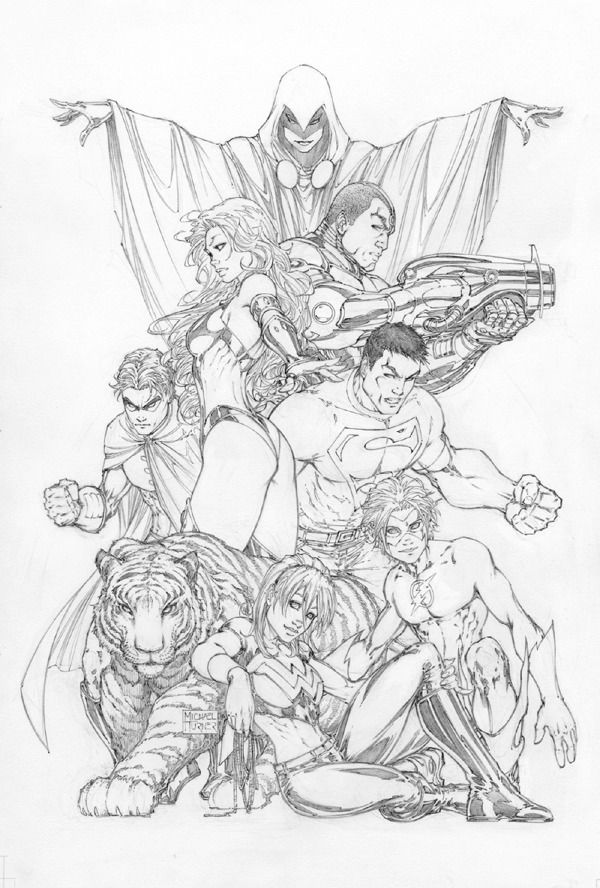 Michael Turner: Teen Titans Cover, Uncoloured