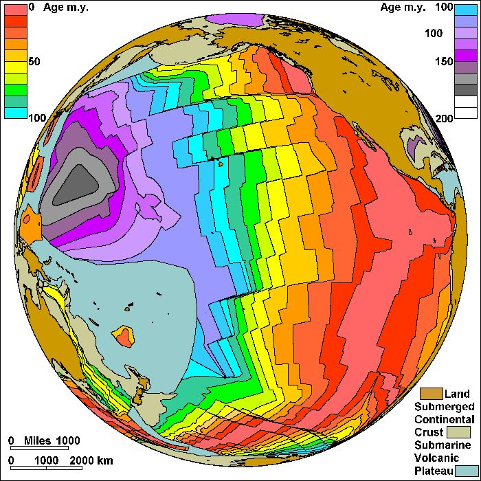Map of the Spreading Sea Floor in the Pacific  Steven Dutch, Natural and Applied Sciences, University of Wisconsin - Green Bay