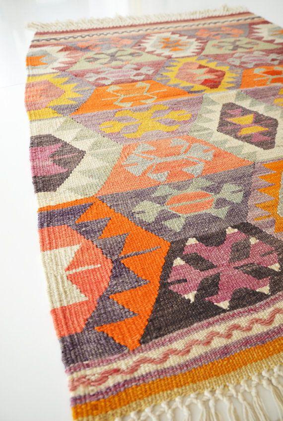 Sukan / VINTAGE Turkish Kilim Rug Carpet handwoven kilim by sukan