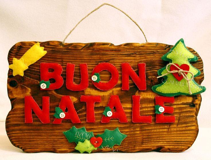 Buon Natale in feltro... con supporto in legno!