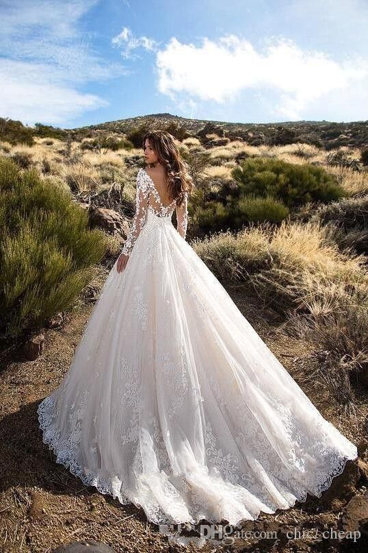 Discount Sexy V Neck Backless A Line Sheer Lace Applique Long Sleeve Bridal Wedding Dress Classic Wedding Gowns Affordable Dresses Bridal Dresses Online From Chic_cheap, $189.83| DHgate.Com