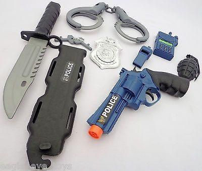 cool Toy Revolver Gun Pistol Police Detective Guns HUGE 7PC Set Kids SAFE - For Sale