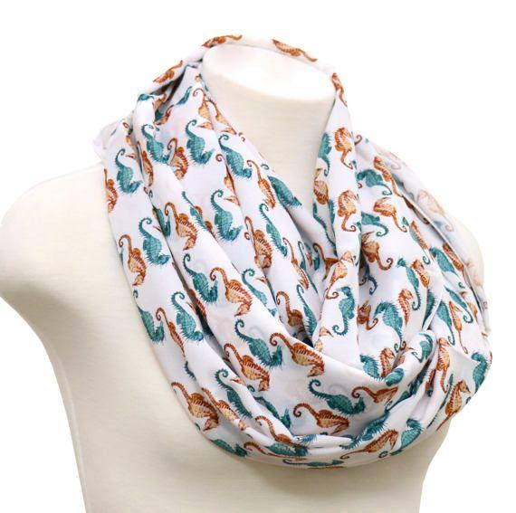 Handgemaakte seahorse sjaal wit oneindigheid sjaal met