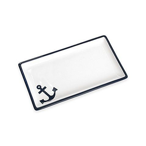 """Anchors Away Guest Towel Tray. Elegant in navy and white, the Lamont Home India Ink Anchors Away Guest Towel Tray brings fresh nautical style to your bath. Ceramic. Measures 9.25"""" L x 5.25"""" W x 1"""" H. Coordinate with other items in the Anchors Away Collection for a complete look (sold separately). Imported."""
