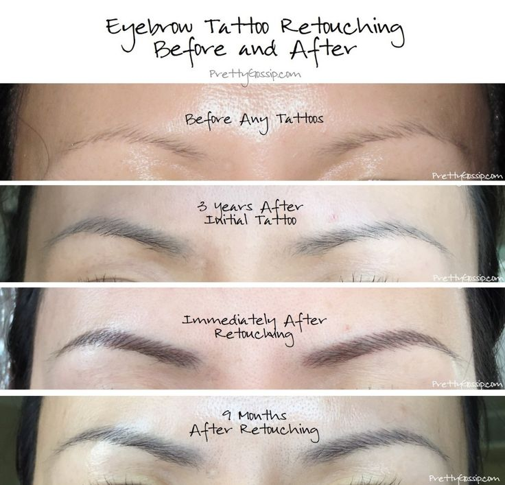 Eyebrow tattoo retouching before and after pics by
