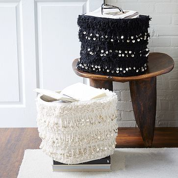 "Moroccan Wedding Baskets #westelm 14""diam. x 12""h. 90% cotton, 10% metal sequins. Handwoven. Made in India."