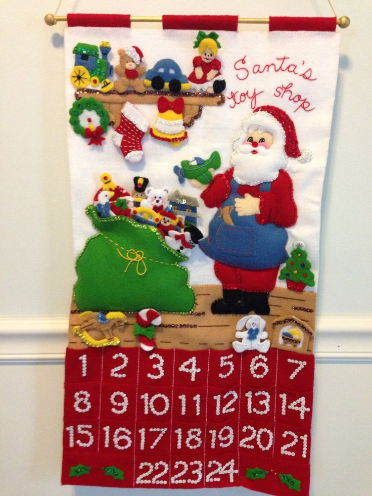Finished Bucilla completed felt advent calendar- Santa's toy shop by JillianBCreations on Etsy
