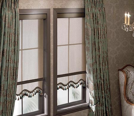 dress up a roller shade with scalloped edges decorative tassels or trim to complement your