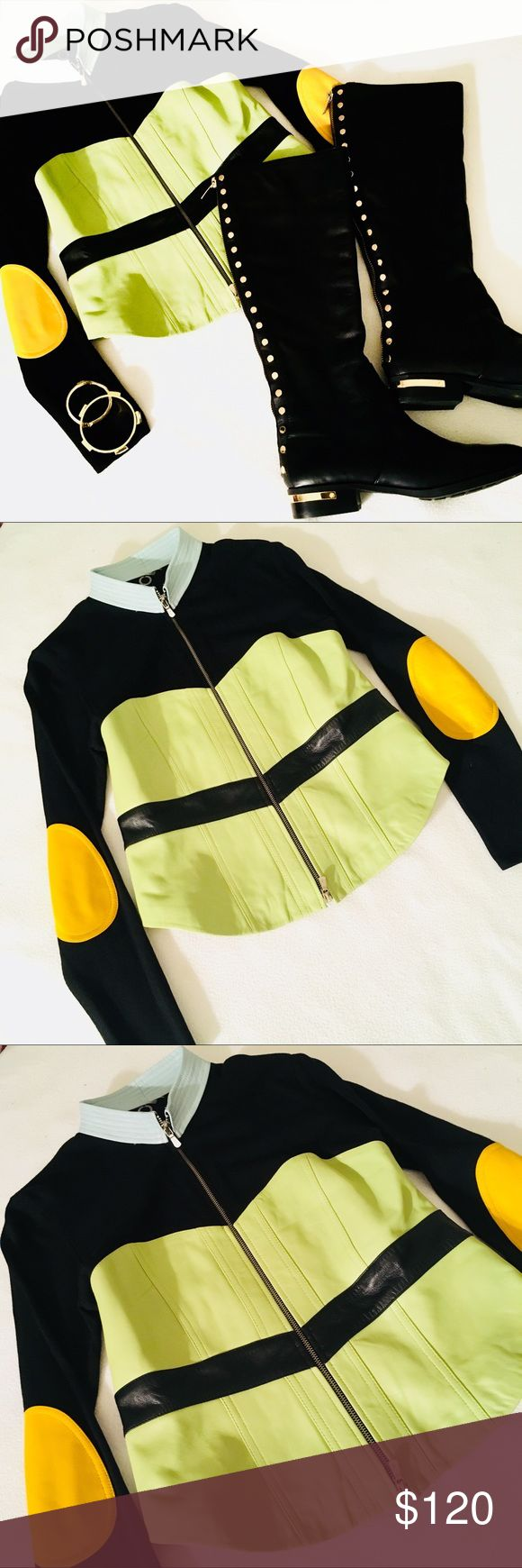 Color block Leather Sweater Elbow Patch Jacket Super cute black sweater jacket with 100% Leather in shades of aqua lime and yellow. High quality. Perfect addition to any preppy and stylish wardrobe Jackets & Coats