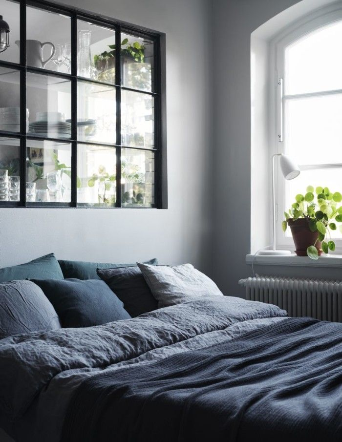 grey bedroom.