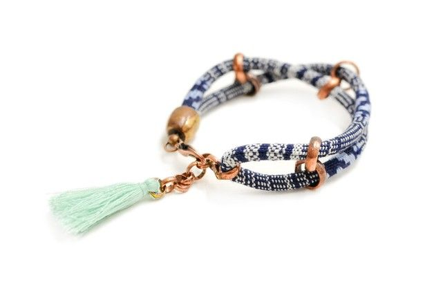 Hippie Seil Armband Blau Weiß