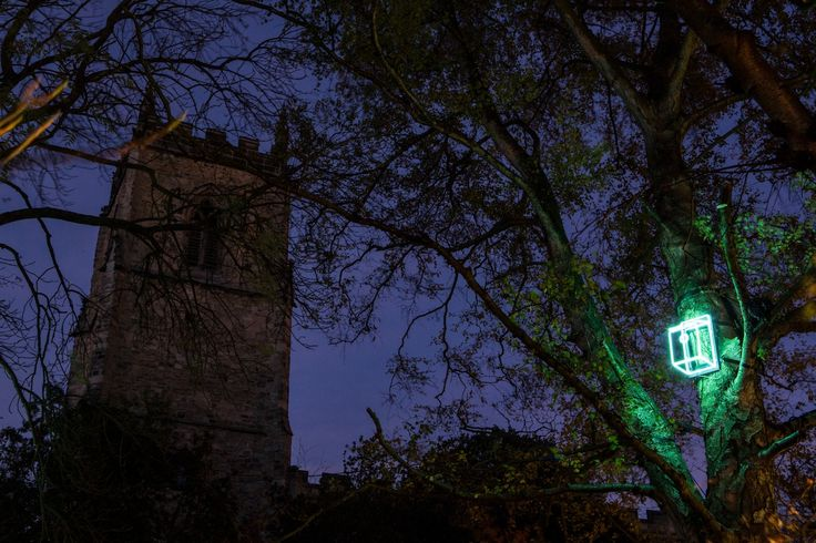 Sanctuary, by Sarah Blood, Lumiere Durham 2013. Beth won a BRILLIANT commission to create this piece, which saw her install neon bird boxes throughout a churchyard, which transmitted human voices imitating birdsong. Photo by Matthew Andrews.