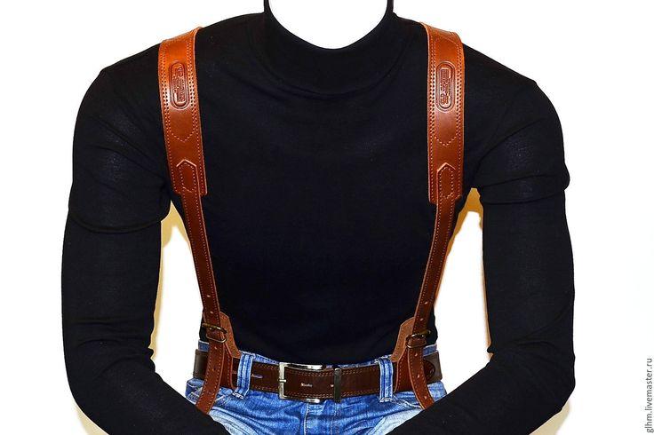 Купить или заказать Подтяжки мужские кожаные в интернет-магазине на Ярмарке Мастеров. Истенно-мужской аксессуар! Стильные, брутальные подтяжки, выполнены очень качественно, вручную из натуральной кожи растительного дубления КРС цвет 'Коньяк', с нанесением фирменного тиснения, финишной отделкой и обработаны специальным защитным составом. Имеют множество регулировок (по спине и по груди) Подойдут для любого телосложения! Милые дамы, сделайте шикарный подарок для любимого …