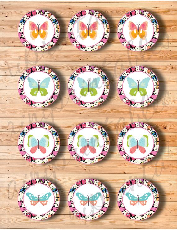Two Digital Files  Cupcake Topper Butterfly by AiniPrintables
