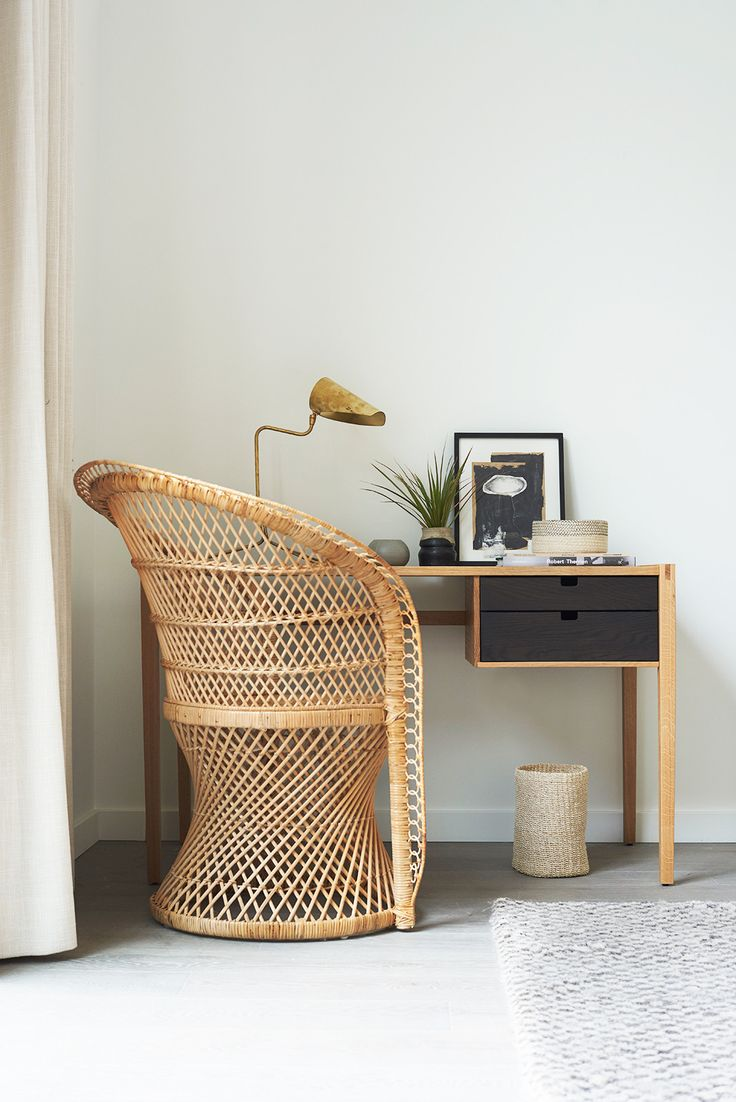 Workspace with lovely rattan chair PHOTO: Nicole LaMotte for Parachute