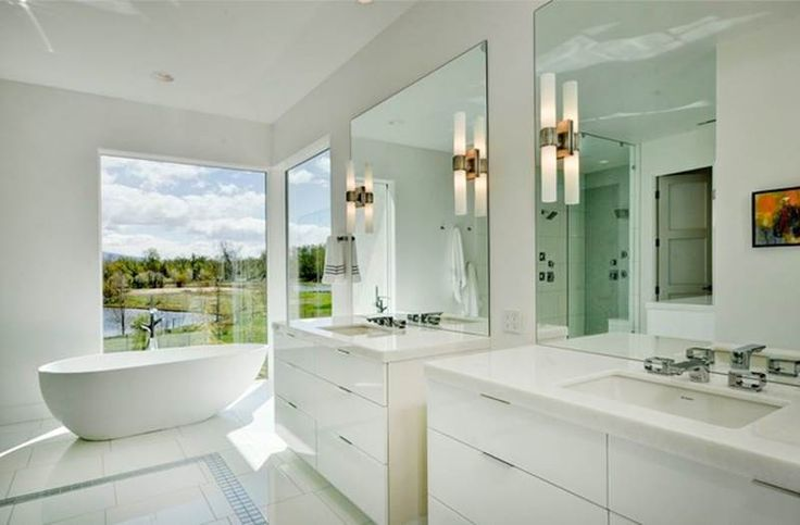 Benjamin moore distant gray paint colors pinterest for Pictures of big bathrooms