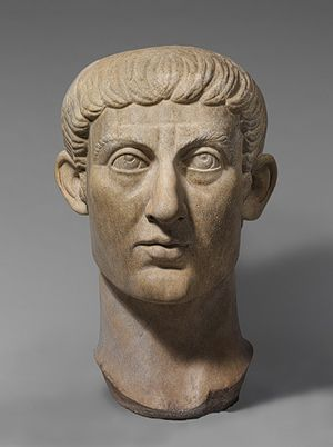 Portrait head of Emperor Constantine I, ca. 324–337; Constantinian; Late Antique period  Roman  Marble