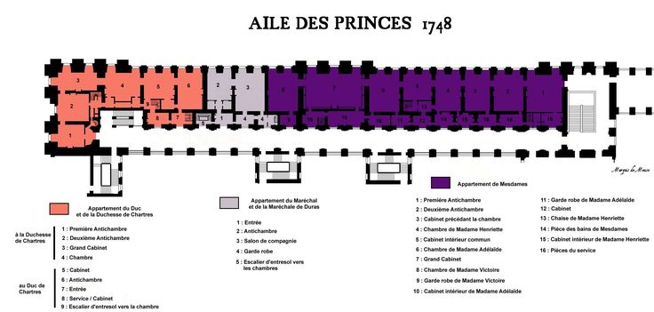 The Aile des Princes in 1748, showing the distribution of apartments at the king's pleasure.