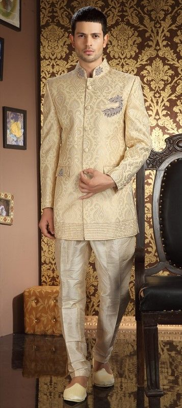 13135, IndoWestern Dress, Jacquard, Stone, Thread, Beige and Brown Color Family