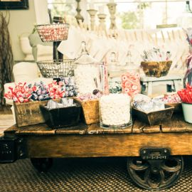 Candy Buffet. D, you know i have a vintage trolley cart similar to this :)