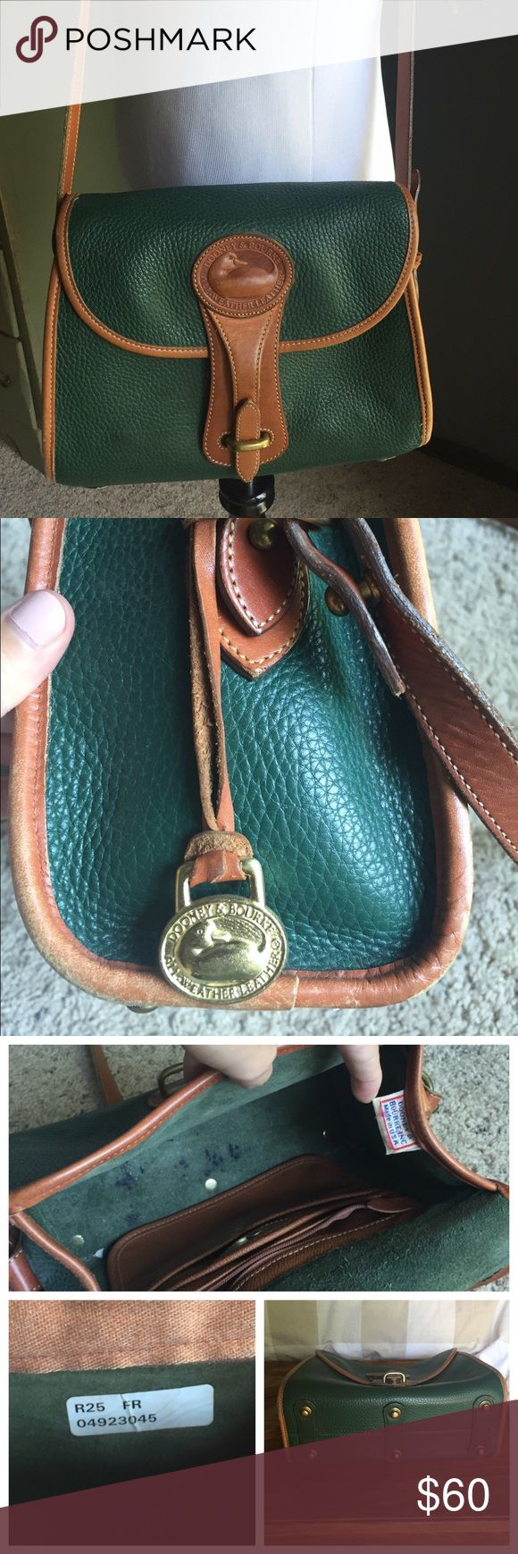 Vintage Dooney & Bourke Shoulder Bag Vintage all-weather leather crossbody bag from Dooney & Bourke. Features 3 interior pockets and an adjustable shoulder strap. Comes with fob. Inside has a few pen marks, but other than that this bag is in good shape! Dooney & Bourke Bags Shoulder Bags