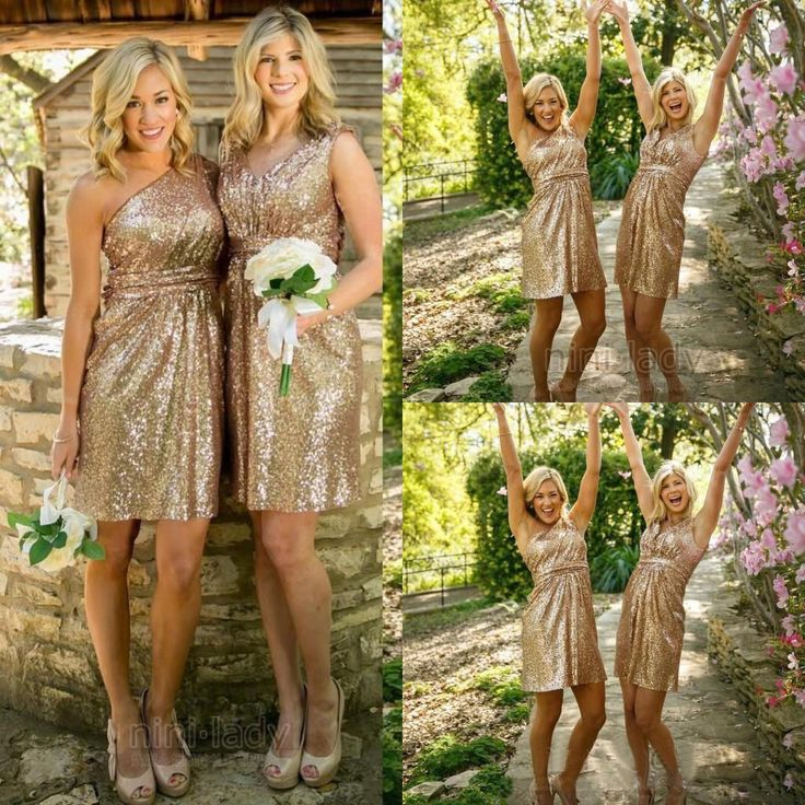 Nice Great Rose Gold Sequins Bridesmaid Dresses Cocktail Homecoming Short Party Prom Gowns  2018