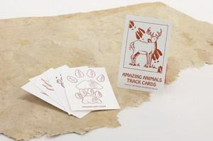 Learn to recognize animal tracks by playing cool card games. Our exclusive Nature Watch Animal Track cards are entertaining and educational. There are 65 total cards in the deck. Includes an instruction card plus 4 of each of the following tracks:      Raccoon Track     Rabbit Track     Possum Track     Porcupine Track     Wolf Track     Coyote Track     Squirrel Track     Skunk Track     Black Bear Track     Beaver Track     Badger Track     Bobcat Track     Fox Track     ...