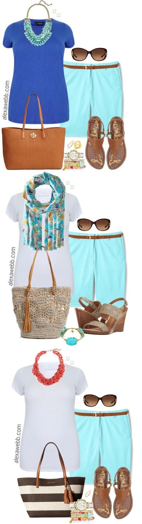 Plus Size Aqua Shorts Outfits - Plus Size Summer Outfits for Women - Plus Size Fashion - alexawebb.com #alexawebb