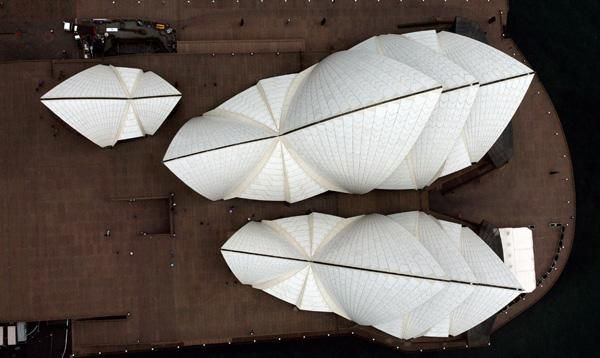 Aerial view of the Sydney Opera House. Photo: Bob Pearce