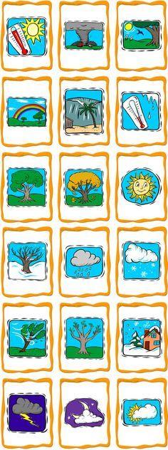 Sää- ja vuodenaikakortteja.