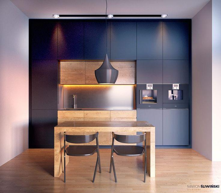 Kitchen - modern kitchen on teh samll space ; interior designer; architect Marcin Śliwiński Poland;  Source: https://www.facebook.com/architectmarcinsliwinski?fref=ts