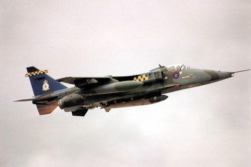 Sepecat Jaguar. XZ112. 54 Squadron. 75th Anniversary tail. RAF COLTISHALL. May, 1991.