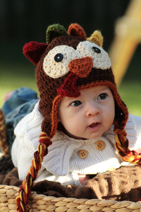 Crocheted Turkey Hat Pattern by ScrapmadeCreations on Etsy