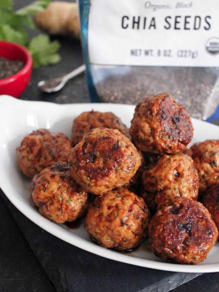 Chia Seed Pork Meatballs with Spicy Ginger-Soy Glaze. These flavorful meatballs use chia seeds as a binder! #glutenfree #paleo #eggfree