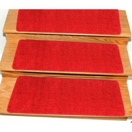 Ottomanson Comfort Collection Soft Solid (Non-Slip) Shag Carpet Stair Treads, 7 Pack, 9 inch x 26', Red