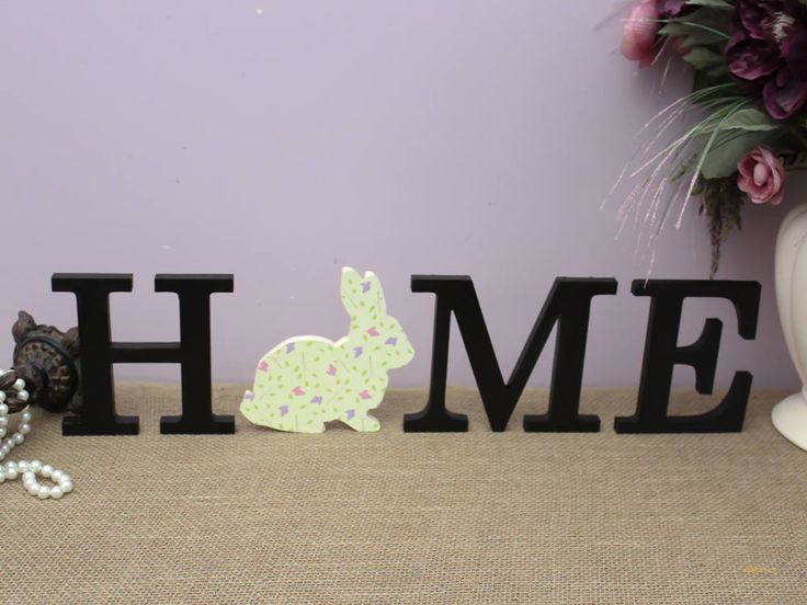 HOME Wood Letters, Easter Bunny Decor, Wooden Letters, Spring Home Decor, Interchangeable Letter Set, Housewarming Gift, Mantle Decoration