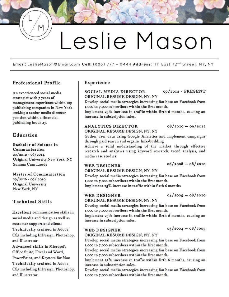 14 best Leslie Mason Beautiful Resume Cv Template images on