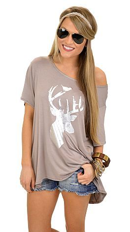 Silver Deer Tee :: NEW ARRIVALS :: The Blue Door Boutique