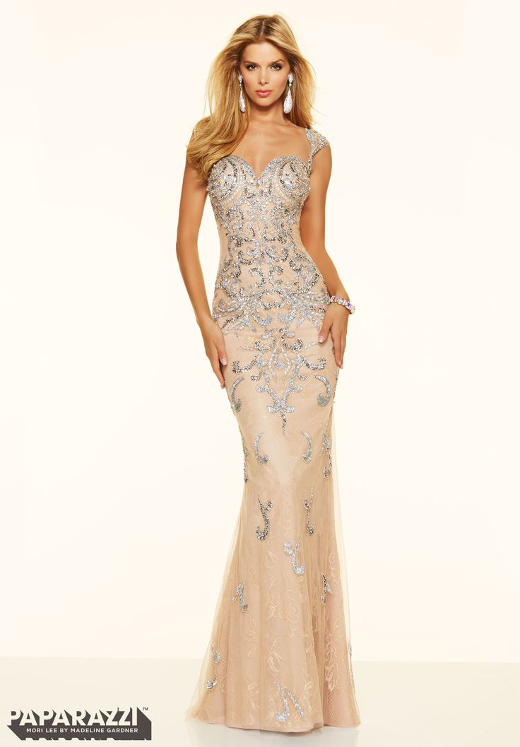 Prom Dresses By Paparazzi Prom Beaded Net Over Lace Zipper -8195